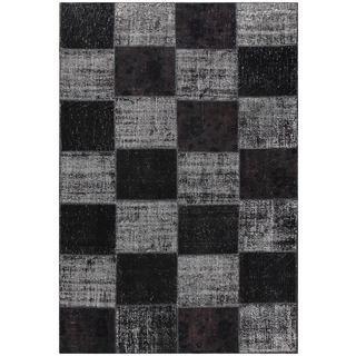 ABC Accent Vintage Patchwork Overdyed Black Wool Rug (7' x 10')