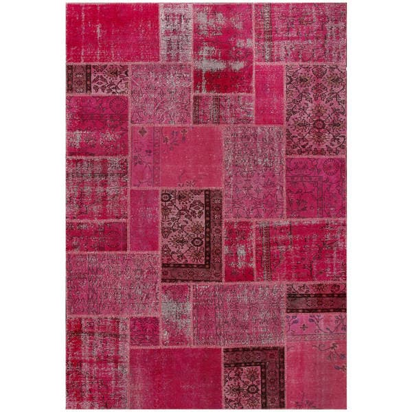 Shop ABC Accent Vintage Patchwork Overdyed Red Wool Rug (7
