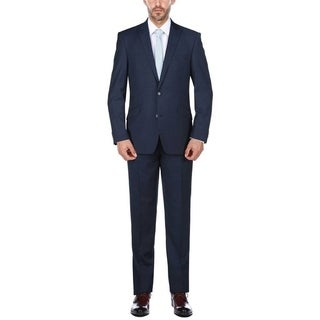 Rivelino Cobalt Blue Micro-Stripe Slim Fit Wool Two Piece Suit