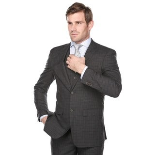 Rivelino Men's Dark Grey and Burgundy Plaid Italian Styled Three Piece Suit