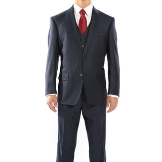 Rivelino Navy Blue and Black Pinstripe Three Piece Wool Suit
