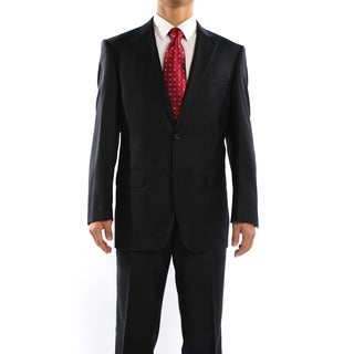 Revelino Men's Black Pinstripe Classic Fit Italian Styled Virgin Wool Suit