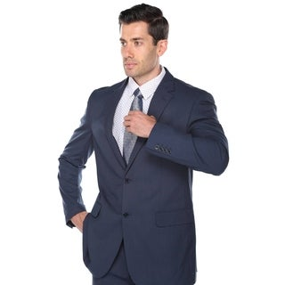 Verno Men's Navy Blue Birdseye Textured Classic Fit Italian Styled Two Piece Suit