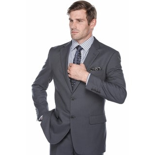 Verno Men's Steel Blue Birdseye Textured Classic Fit Italian Styled Two Piece Suit