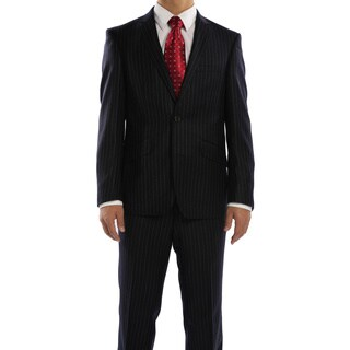 Rivelino Navy Chalk Stripe Slim Fit Wool Italian Styled Two Piece Suit