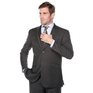 Verno Galano Men's Dark Grey Pinstripe Classic Fit Italian Styled 3-piece Suit