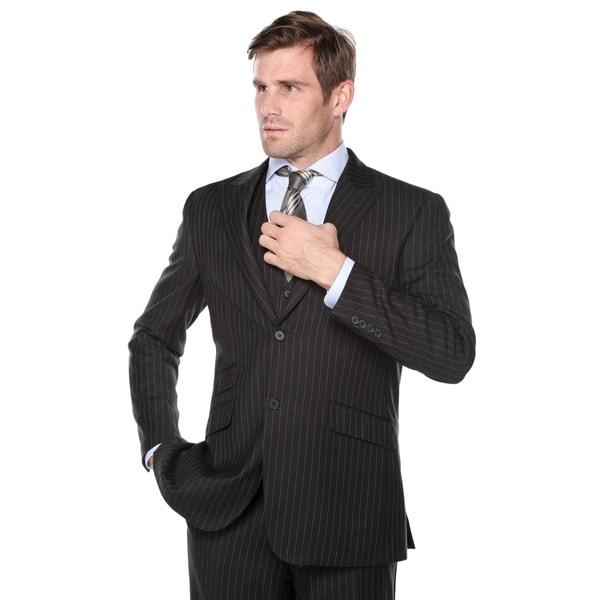 Verno Galano Men's Black Pinstripe Slim Fit Italian Styled 3-Piece ...