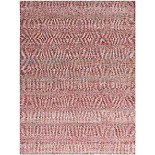 Hand-Woven Brisbane Modern Red Wool Rug 4'x6'
