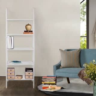 5-shelf Ladder Bookcase (Option: White)|https://ak1.ostkcdn.com/images/products/11002521/P18021347.jpg?impolicy=medium