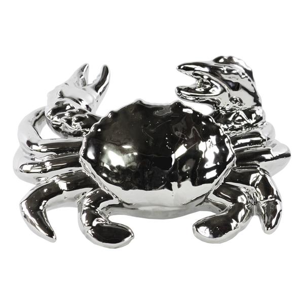 Shop Ceramic Polished Chrome Finish Silver Crab Figurine