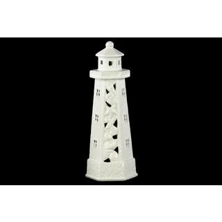 Ceramic Cutout and Seashell Design Gloss White Lighthouse Figurine