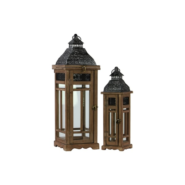 Wood Square Lantern with Black Pierced Metal Top and Ring Hanger (Set of 2)