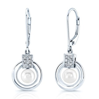 14k White Gold Freshwater Pearl and Diamond Accent Earrings (H-I, VS1-VS2)