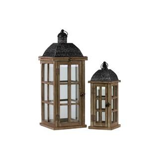 Simple Pane Dark Wood and Metal Ring Hanger Lantern (Set of 2)