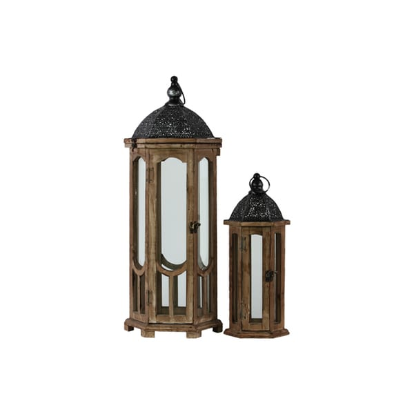 Hexagonal Lantern with Black Pierced Metal Top and Ring Hanger (Set of 2)