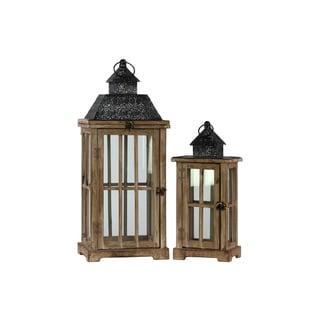 Antique-style Wood and Metal Rectangular Lantern (Set of 2)