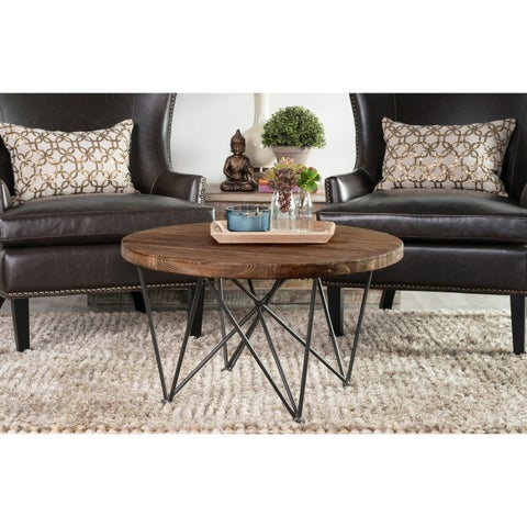 Dante Wood and Iron Round Coffee Table by Kosas Home