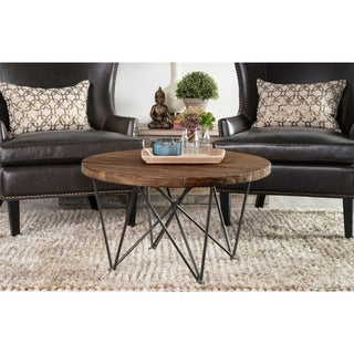 Dante Wood and Iron Round Coffee Table by Kosas Home - 18h x 32w x 32d