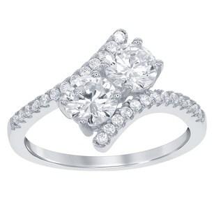 La Preciosa Sterling Silver 2-stone Cubic Zirconia Angled Ring