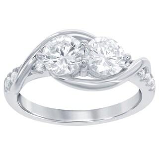La Preciosa Sterling Silver Two-stone CZ Winding Ring