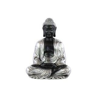 Resin Meditating Buddha Figurine with Rounded Ushnisha in Dhyana Mudra Painted Finish Silver