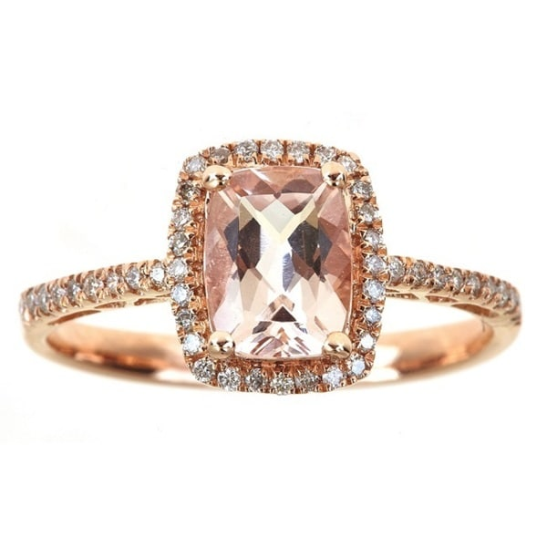 Anika and August 10k Rose Gold Cushion-cut Morganite and 1/5ct TDW Diamond Ring (G-H, I1-I2)