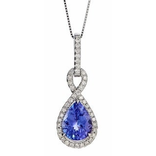 Anika and August 14k White Gold 1/5ct TDW Diamond and Pear-cut Tanzanite Pendant (G-H, I1-I2)