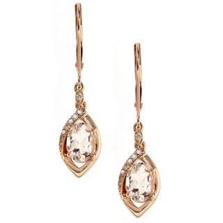 Anika and August 14k Rose Gold 1/10ct TDW Diamond and Oval-cut Morganite Dangle Earrings (G-H, I1-I2)