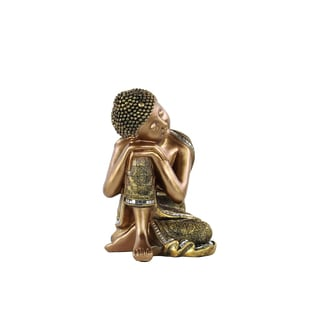 Resin Buddha with Small Ushnisha with Head Resting on Knee Small Painted Finish Gold