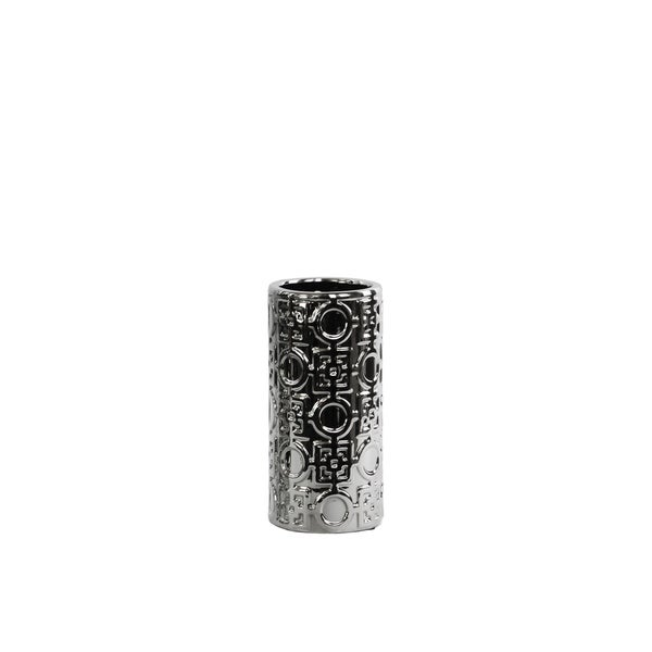 UTC24702: Ceramic Round Cylindrical Vase Silver with Patterned Design SM Polished Chrome FInish Silver