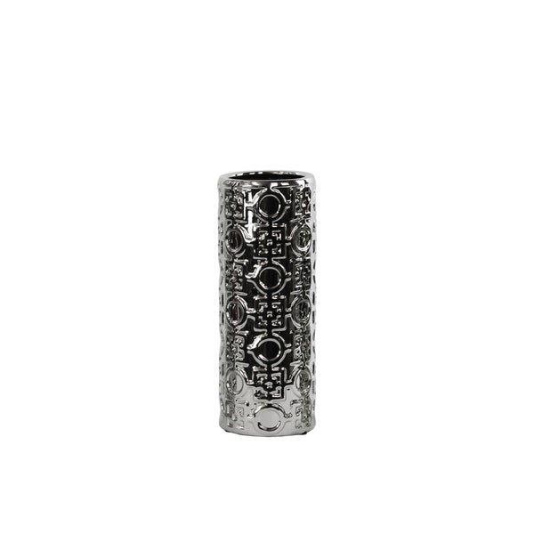 UTC24701: Ceramic Round Cylindrical Vase Silver with Patterned Design MD Polished Chrome FInish Silver