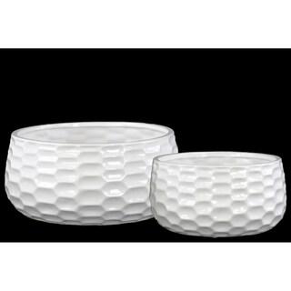 Urban Trends Honey Comb Gloss White Ceramic Pots (Set of 2)