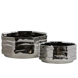 Ceramic Octagonal Pot Set of Two Polished Chrome Finish Silver
