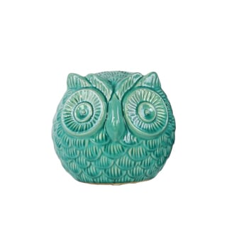Urban Trends Spherical Owl Gloss Turquoise Finish Small Figurine