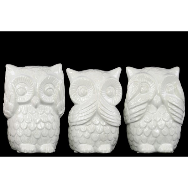 White Ceramic Owl No Evil Figurine Set Of 3 Free Shipping Today 11002764