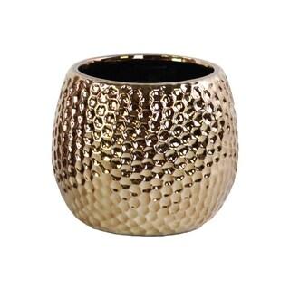 Polished Chrome Finish Copper Ceramic Round Dimpled Vase