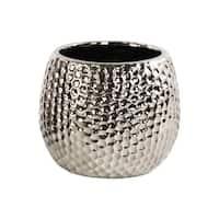 UTC24480: Ceramic Round Vase Dimpled Polished Chrome Finish Silver
