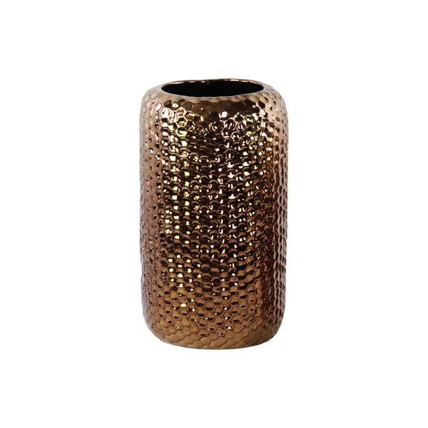 Polished Chrome Finish Copper Ceramic Round Dimpled Vase Large