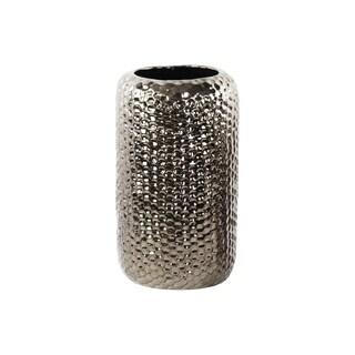 Polished Chrome Finish Silver Ceramic Round Dimpled Vase Large