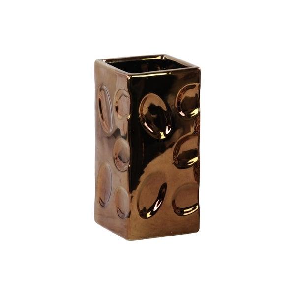 Utc24472 Ceramic Square Vase Dimpled Polished Chrome Finish Copper