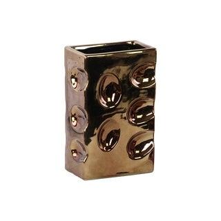 Polished Chrome Finish Copper Ceramic Rectangular Dimpled Vase