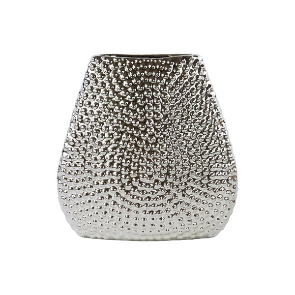 UTC24461: Stoneware Elliptical Bellied Vase Beaded Chrome Finish Silver