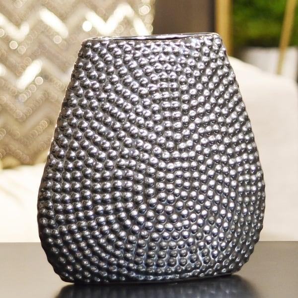UTC24461: Stoneware Elliptical Bellied Vase Beaded Chrome Finish Silver