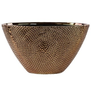 Elliptical Tapered Beaded Chrome Bronze Finished Stoneware Vase