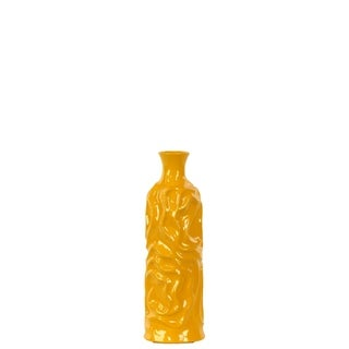 Ceramic Small Gloss Finish Yellow Round Cylindrical Vase with Neck and Wrinkled Sides