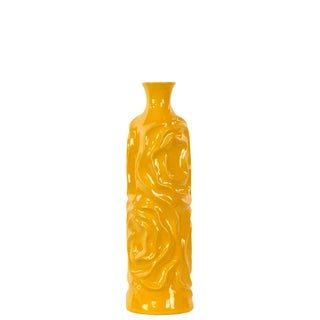 Ceramic Medium Gloss Yellow Round Cylindrical Vase with Neck and Wrinkled Sides