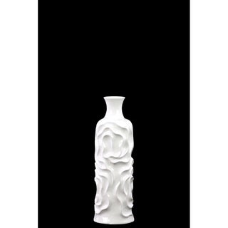 Ceramic Small Gloss White Round Cylindrical Vase with Neck and Wrinkled Sides
