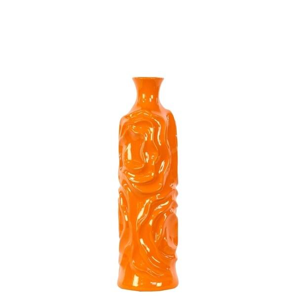 UTC24451: Ceramic Round Cylindrical Vase with Neck and Wrinkled Sides MD Gloss Finish Orange