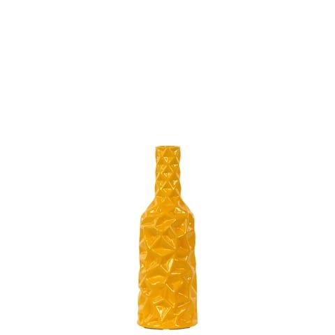 UTC24445: Ceramic Round Bottle Vase with Wrinkled Sides SM Gloss Finish Yellow