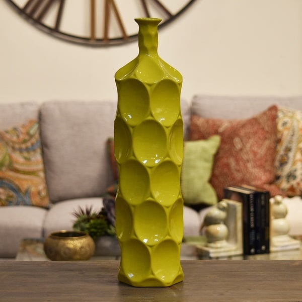 UTC24403: Ceramic Round Bottle Vase with Dimpled Sides LG Gloss Finish Yellow